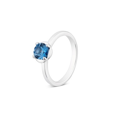 Argento Silver Square Blue Crystal Ring   - Click to view larger image
