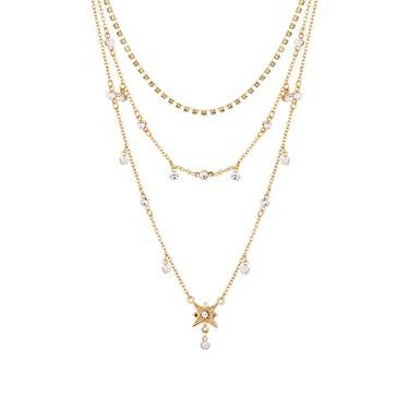 Dirty Ruby Gold Layered Star Necklace  - Click to view larger image
