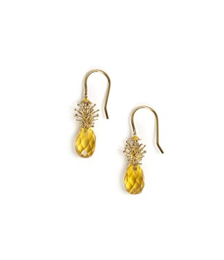 Vivienne Westwood Gold Pineapple Drop Earrings  - Click to view larger image