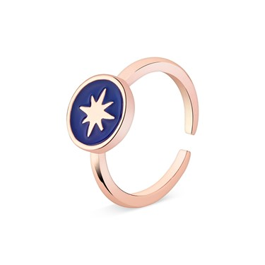 Dirty Ruby Midnight Blue North Star Adjustable Ring   - Click to view larger image