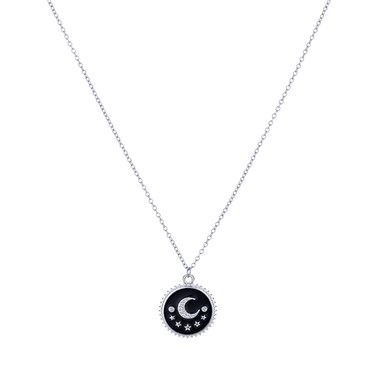 Dirty Ruby Black + Silver Moon Necklace  - Click to view larger image