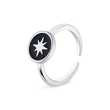 Dirty Ruby Black + Silver North Star Adjustable Ring   - Click to view larger image