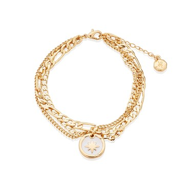 Dirty Ruby Gold North Star Layered Bracelet   - Click to view larger image