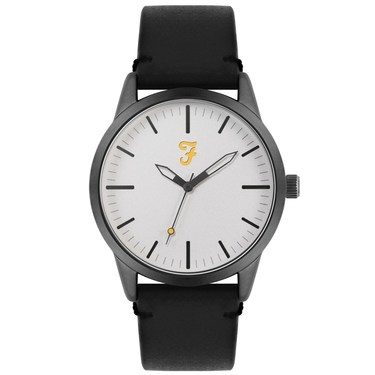 Farah Classic Grey + Black Leather Watch  - Click to view larger image