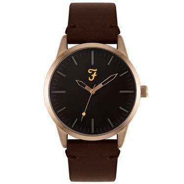 Farah Classic Rose Gold + Brown Leather Watch  - Click to view larger image