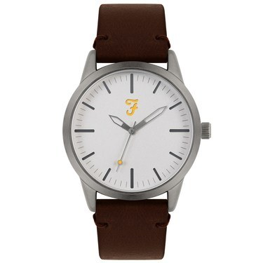 Farah Classic Silver + Brown Leather Watch  - Click to view larger image