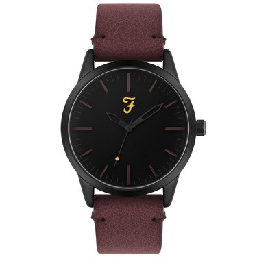 Farah Classic Black + Burgundy Suedette Watch   - Click to view larger image