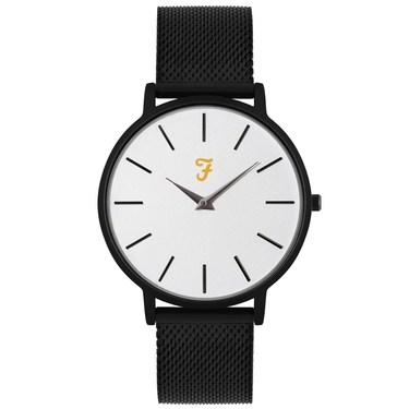 Farah Slim Jim Black Mesh + White Dial Watch   - Click to view larger image