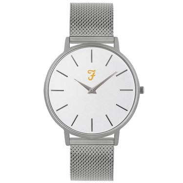 Farah Slim Jim Silver Mesh + White Dial Watch   - Click to view larger image