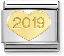 Nomination 2019 Gold Heart Charm  - Click to view larger image
