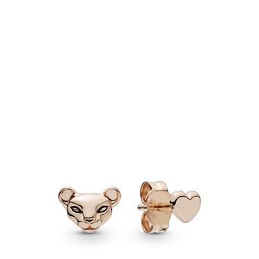 Pandora Lion Princess & Heart Stud Earrings  - Click to view larger image
