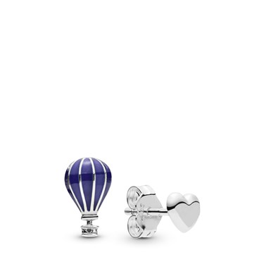 Pandora Hot Air Balloon & Heart Stud Earrings  - Click to view larger image