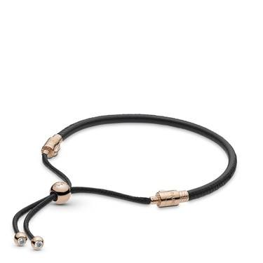 Pandora Moments Rose + Black Leather Sliding Bangle   - Click to view larger image