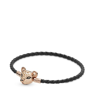Pandora Rose Lion Princess Black Leather Bracelet   - Click to view larger image