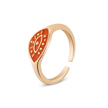 Dirty Ruby Sunset Orange Evil Eye Adjustable Ring   - Click to view larger image