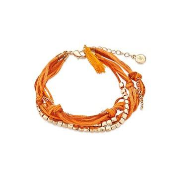 Dirty Ruby Orange + Gold Layered Cord Bracelet   - Click to view larger image