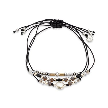Dirty Ruby Black + Silver Layered Bracelet   - Click to view larger image