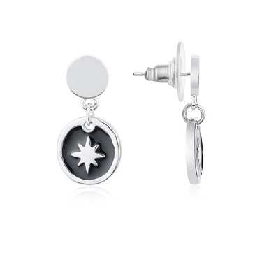 Dirty Ruby Black+ Silver Star Earrings  - Click to view larger image