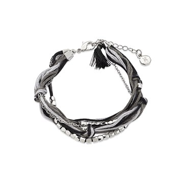 Dirty Ruby Silver + Black Layered Cord Bracelet  - Click to view larger image