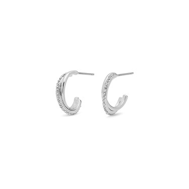 Pilgrim Silver Crystal Twist Circle Earrings  - Click to view larger image