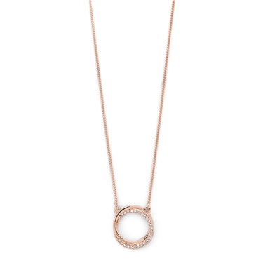 Pilgrim Rose Gold Crystal Twist Circle Necklace  - Click to view larger image