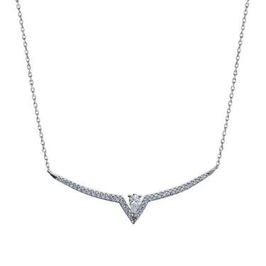 Carat* London Silver Victoria Drop Necklace  - Click to view larger image