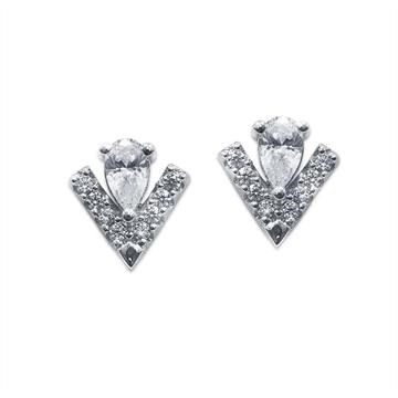 Carat* London Silver Victoria Stud Earrings  - Click to view larger image
