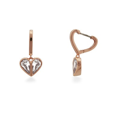 Kate Spade New York Rose Gold Crystal Heart Huggie Earrings  - Click to view larger image
