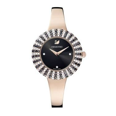 Swarovski Crystal Rose Black + Rose Gold Watch   - Click to view larger image