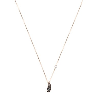 Swarovski Naughty Black + Rose Gold Feather Necklace  - Click to view larger image