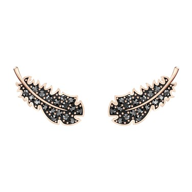 Swarovski Naughty Black + Rose Gold Feather Earrings  - Click to view larger image