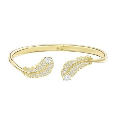 Swarovski Nice Gold Feather Hinged Bangle  - Click to view larger image