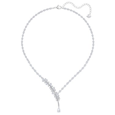 Swarovski Nice Rhodium Feather Necklace  - Click to view larger image