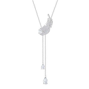 Swarovski Nice Silver Feather Y Necklace  - Click to view larger image