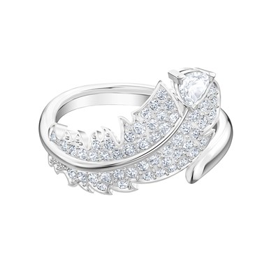 Swarovski Nice Silver Feather Ring   - Click to view larger image