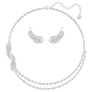 Swarovski Nice Rhodium Feather Set   - Click to view larger image