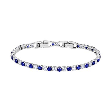 Swarovski Tennis Deluxe Blue + White Bracelet  - Click to view larger image