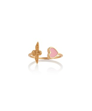 Olivia Burton Gold + Pink Love Bee Ring   - Click to view larger image