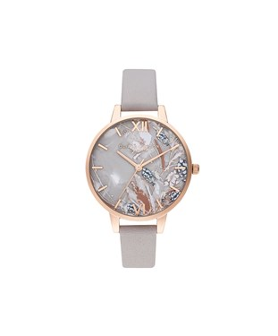 Olivia Burton Abstract Floral Mother of Pearl Grey Lilac + Pale Rose Gold Watch   - Click to view larger image