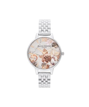 Olivia Burton Honey Tan + Rose Gold Marble Floral Watch  - Click to view larger image