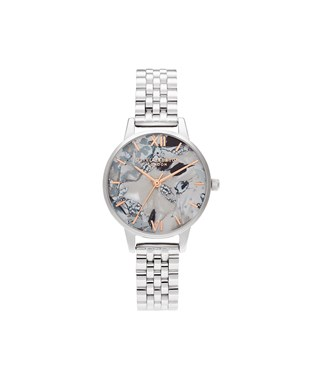 Olivia Burton Abstract Floral Mother of Pearl Silver Bracelet Watch   - Click to view larger image