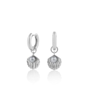 Olivia Burton Silver + Pearl Shell Huggie Hoops   - Click to view larger image