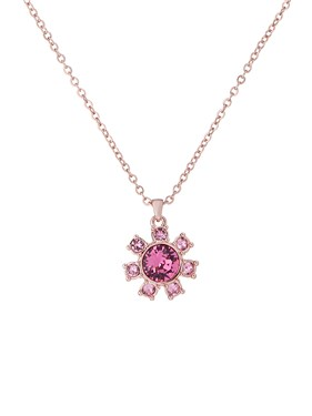 Ted Baker Rose Gold + Pink Clockwork Necklace   - Click to view larger image