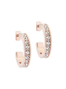 Ted Baker Small Rose Gold Crystal Hoop Earrings   - Click to view larger image