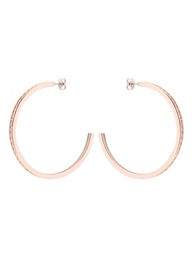 Ted Baker Large Rose Gold Crystal Hoop Earrings   - Click to view larger image