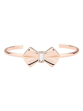Ted Baker Rose Gold Solitaire Bow Cuff  - Click to view larger image