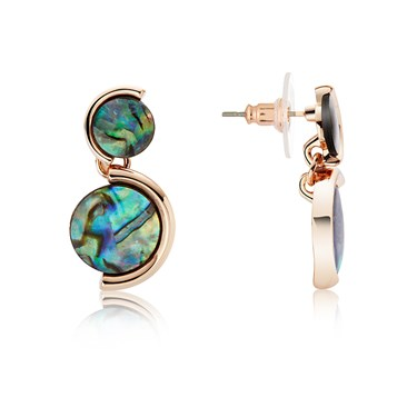 August Woods Rose Gold Abalone Circle Earrings  - Click to view larger image