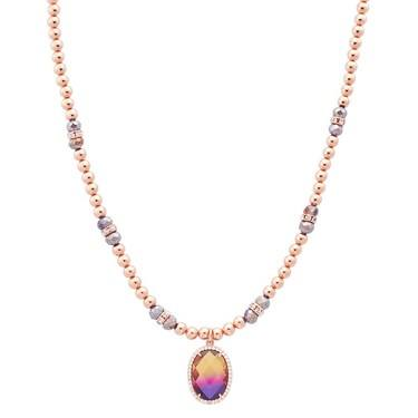 August Woods Rose Gold Beaded Ombre Necklace  - Click to view larger image