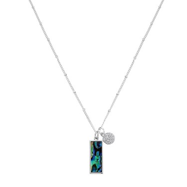 August Woods Silver Abalone Rectangle Necklace   - Click to view larger image
