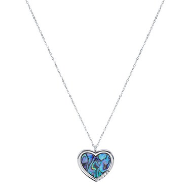 August Woods Silver Abalone Heart Necklace  - Click to view larger image